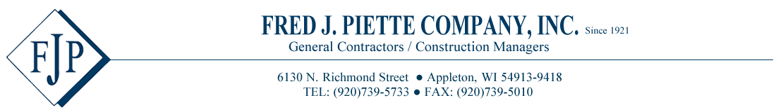Fred J Piette Company | General Contractors Appleton | Construction Managers in Appleton WI